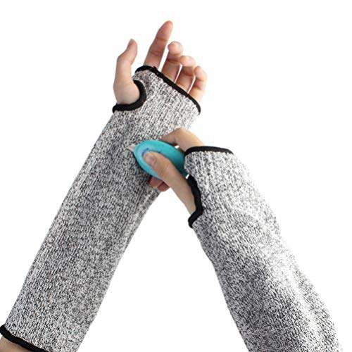 (Cut Resistant Sleeves with Thumb Hole, Cut Resistant Knit Sleeves Level 5 Protection, Helps Prevent Scrapes, Slash Resistant Sleeves 1Pair 12 Inch Long)