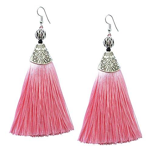 Me&Hz Pink Tassel Earrings Long Strand Drop Earrings for Women Bohemian Fringe Bridesmaid Earring Jewelry