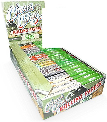 25 Packs Cheech and Chong 1 1/4 Hemp Cigarette Rolling Papers (50 Rolling Papers Per Pack) + Limited Edition Beamer Smoke Sticker. Used with Legal Smoking Herbs, Rolling Tobacco, Herbal Mixes