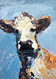italian muzzle size 10 - Cow Art Prints Face Canvas Paper Folk Colorful Portrait Original Country Wall Art Home Decor Rustic Farmhouse Kitchen Decor Gifts for Husband Gifts Animal Lovers Christmas Gifts - Agostino Veroni