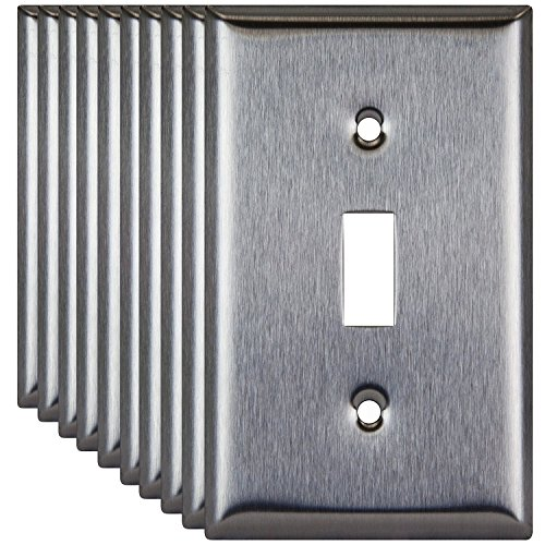 1 Light Plate - Enerlites 7711-10PCS Toggle Switch Stainless Steel Wall Plate 1-Gang, Standard Size, 430 Grade Metal Plate Alloy Corrosive Resistant Cover for Lights Rotoary Dimmers (10 Pack)