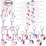 Unicorn Party Supplies, Konsait Unicorn Keychain Bulk(12pcs) Unicorn Bracelet Kit(12pcs) Unicorn Necklace(6pcs) Toys