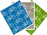 Trendy Tripper Swedish Dishcloth, BICYCLES BIKES Assorted Colors (3, GREY + GREEN + TURQUOISE)
