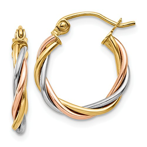 14K Tri-Colored Gold Polished 2.5mm Twisted Hoop Earrings (Approximate Measurements 8mm x 2.5mm)
