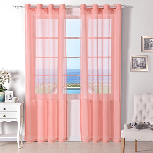 DWCN Sheer Curtains for Living Room Bedroom Grommet Window Faux Linen Look Semi voile Sheer Drapes Panel 52x84 inch Long,Set of 2 Panels, Coral (Curtains Orange Target)