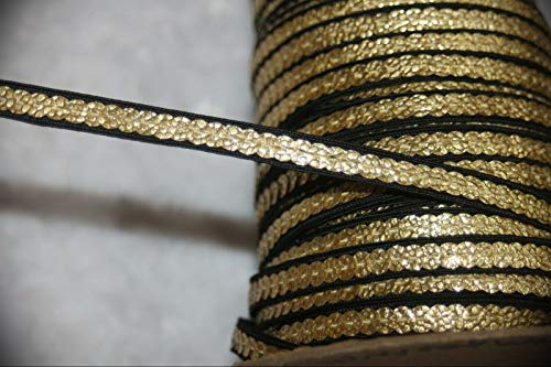 6.8 Yards Black Metallic Gold Sequin Sequins