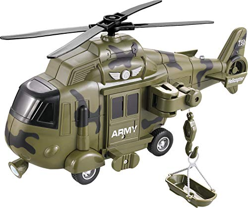 (Memtes Friction Powered Army Helicopter Toy with Retractable line and Rescue Basket Lights and Sounds)