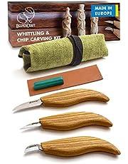 BeaverCraft Wood Carving Kit S15 Whittling Wood Carving Tools for Beginners - Whittling Knife Wood Carving Set - Whittling Kit for Beginners Woodworking Kit - Wood Carving Knife Chip Carving Knife Kit