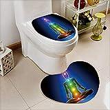 2 Piece Toilet Cover set Meditation Chakras Anatomy concept in Bathroom Accessories