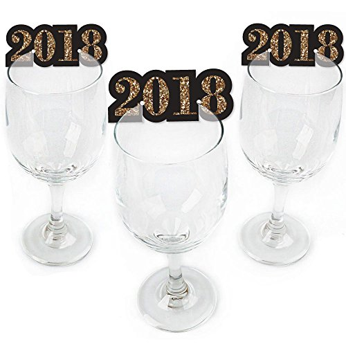 New Year Tag (New Year's Eve - Gold - Shaped 2018 New Years Eve Party Wine Glass Markers - Set of 24)