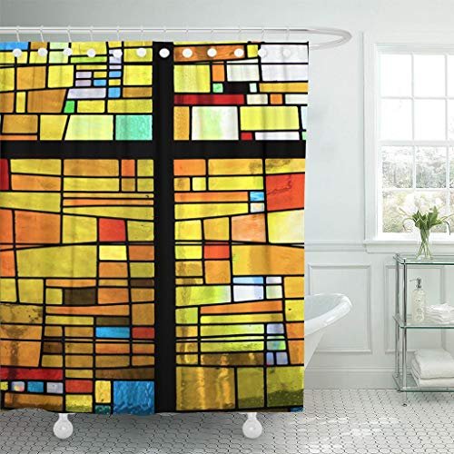 Emvency Fabric Shower Curtain with Hooks Blue Window Multicolored Stained Glass Pattern with Cross Brown Mosaic Color Church 60