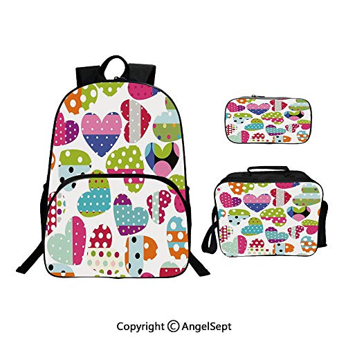 (Custom Three-Piece School Bag,Lunch Bag,Pencil Bag,Heart Shapes with Patches and Polka Dots Cute Cheerful Pattern Design Artwork Multicolor,For Travel School Hanging Out Gifts)