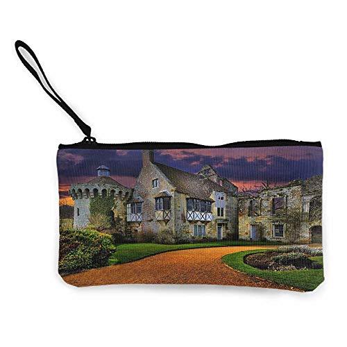 """Phone Pouch Cosmetic Bag W 8.5""""x L 4.5"""",Landscape & Nature,nature, Scotney Castle, Castle, Building Zipper Long Clutch Wallet"""