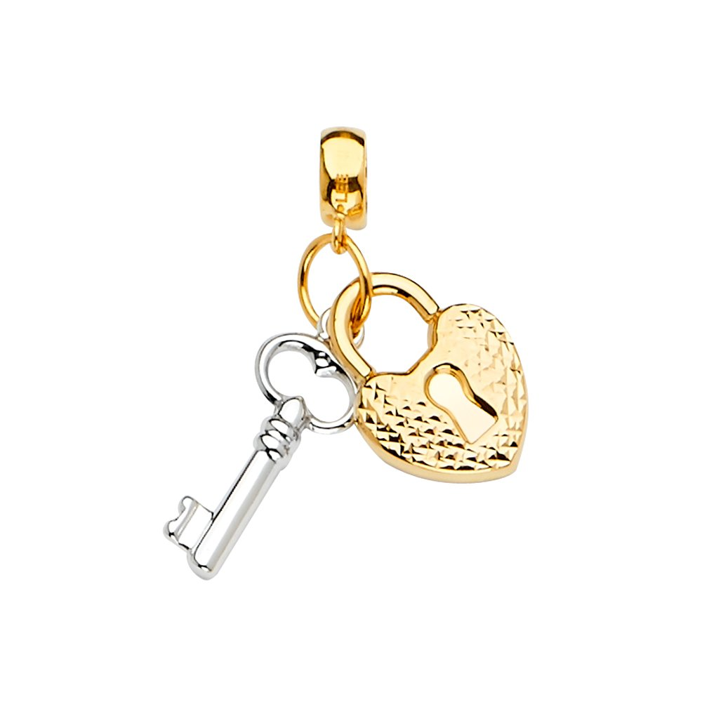 14K Two Tone Gold Key /& Lock Charm Pendant Mix and Match For Bracelet or Necklace or Chain Ioka