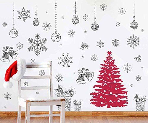 Christmas Wall Decals - Joiedomi 80 Pcs Glitter Snowflakes Window Wall Peel & Stick Decals Holiday Winter Christmas Home Decorations Snow White Stickers (Also including Jingle Bell, Gift Box , Ornaments Designs)