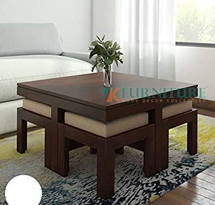 Vk Furniture Sheesham Wood Square Coffee Table For Living Room Wooden Center Table With 4 Stools Mahogany Finish Amazon In Electronics
