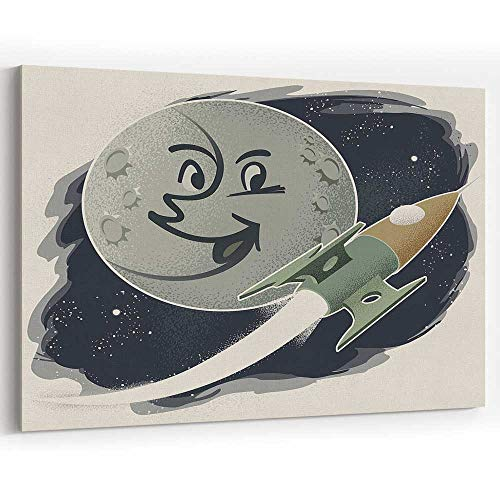 Actorstion Vintage Man in The Moon with Rocket Canvas Art Wall Dcor,Home Decor Stretched-Framed Ready to Hang