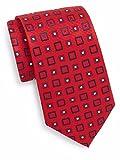 Yves St. Laurent Men's Square Print Silk Tie, OS, Red