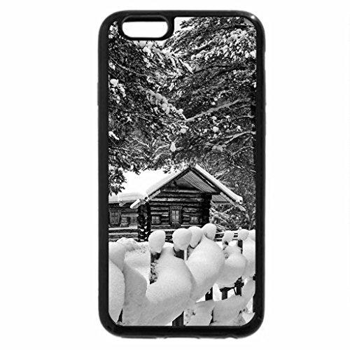 iPhone 6S Plus Case, iPhone 6 Plus Case (Black & White) - Cottages in winter
