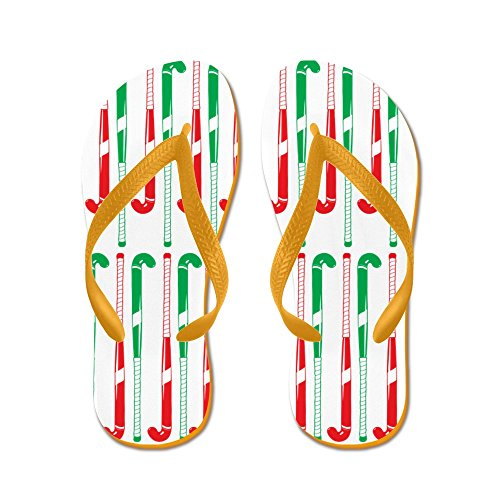 CafePress Christmas Colored Field Hockey Sticks - Flip Flops, Funny Thong Sandals, Beach Sandals Orange