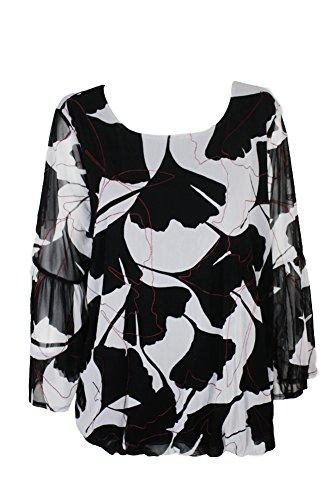 Alfani Plus Size Black Grey Printed Bubble-Hem Blouse ()