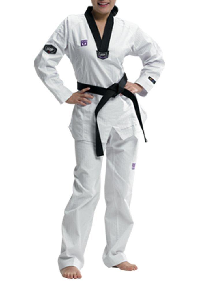 Mooto Taekwondo 3f Woman's Uniform Fashion Slim Fit TKD Dobok Black V-Neck with Free One Patch WTF 0 to 6 (190(us5)(5.90~6.23ft or 180-190cm))