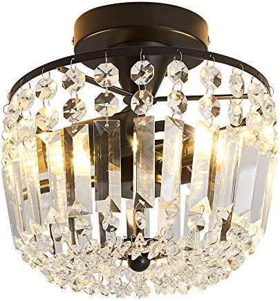 Hallway Crystal Chandelier 2 – Light Modern Flush Mount Ceiling Light Fixture for Hallway Kitchen Kids Room