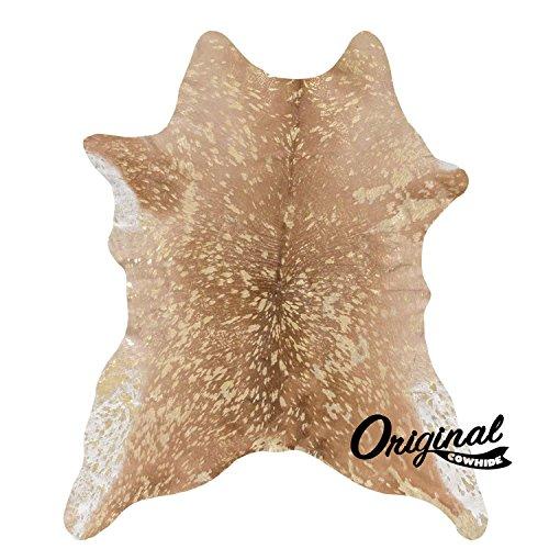 Calfskin Leather Metallic (Gold on Brown Metallic Original Brazilian Calf skin Size small)
