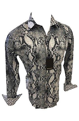 Premier Mens Long Sleeve Button Down Designer Dress Shirt Gray Reptile Snake Design Untucked 102 (Large) ()