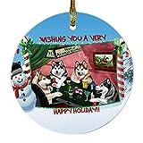 Home of Alaskan Malamute 4 Dogs Playing Poker Photo Round Christmas Ornament