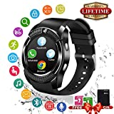 Smart Watch,Bluetooth Smartwatch Touchscreen with Camera, Smart Watches Waterproof Smart Wrist Watch Phone Compatible Android for Men Women Kids (Black) (Black)