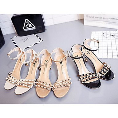 LvYuan Mujer Sandalias Confort PU Verano Casual Vestido Paseo Confort Perla Tacón Stiletto Negro Beige Amarillo 2'5 - 4'5 cms beige