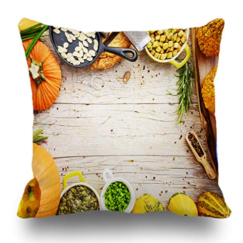 Batmerry Halloween/Thanksgiving Theme Decorative Pillow Covers 18 x 18 inch,Pumpkin Soup Traditional Seasonal Space Dinner Vegetarian Halloween Throw Pillows Covers Sofa Cushion Cover -