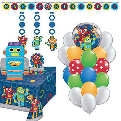 Birthday Party Set :: Ya Otta Robot Pinata bundled with Robot Party Supplies and an eBook on Kids Birthday Party Games
