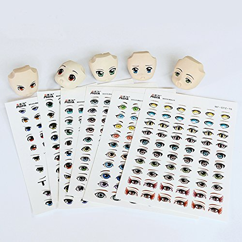 mofa 19 styles Water stickers Eyes Water Stickers For Doll Clay Craft Makingndle Moulds,Fondant, Polymer Clay, Soap Making,Crafting Projects (19 Pcs Eyes Water Sticker) (Best Clay For Doll Making)