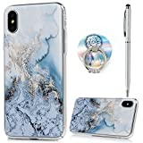iPhone X Case, Marble Pattern Soft Slim Shockproof Flexible TPU, Rubber Silicone Colorful Skin Cover for Apple iPhone X, Blue Marble