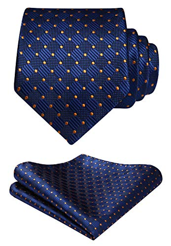 HISDERN Polka Dots Tie Woven Classic Mens Necktie & Pocket Square Set