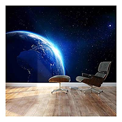 Large Wall Mural Shining Blue Earth in Universe...