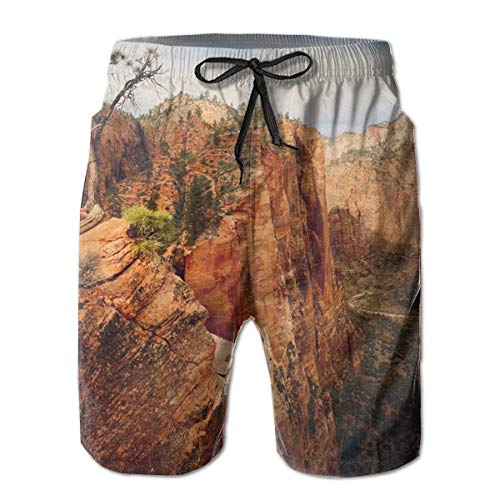 Oswz HammockLiving Angels Landing Zion National Park Utah Men's Beach Swimming Trunks Boxer Brief Swimsuit Swim Underwear Boardshorts with Pocket