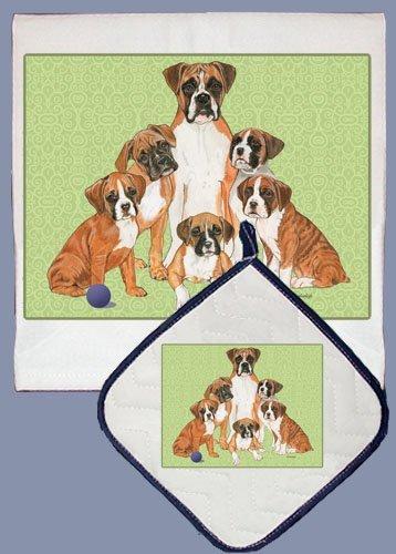 UPC 763974905589, Pipsqueak Productions DP558 Dish Towel and Pot Holder Set - Boxer Family