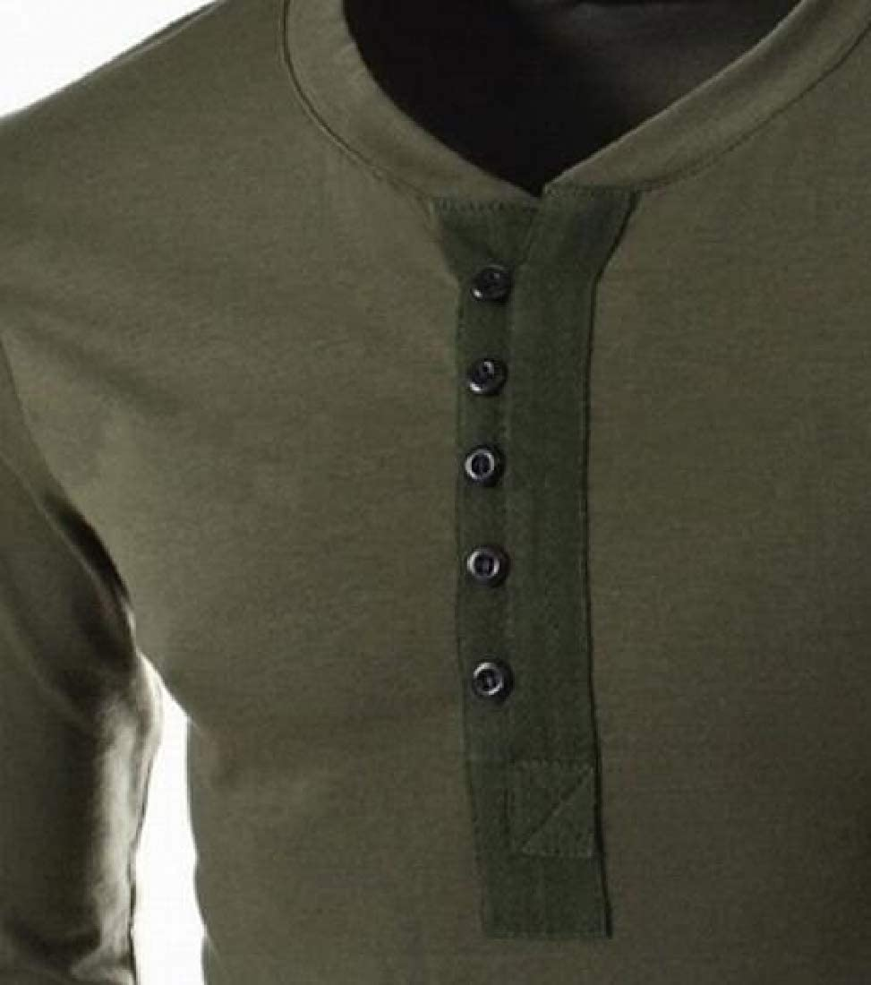 ainr Mens Classic Long Sleeve Casual Slim Fit Henley T-Shirt Basic Designed