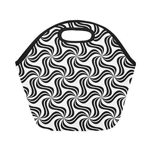 Insulated Neoprene Lunch Bag Soft Pattern Repeat Monochrome Leaf Leaves Bland Large Size Reusable Thermal Thick Lunch Tote Bags For Lunch Boxes For Outdoors,work, Office, School