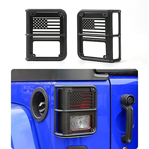 Strengthen Tail light Cover USA Flag for 2007-2017 Jeep Wrangler JK & Unlimited – Pair(Combination?4pcs)