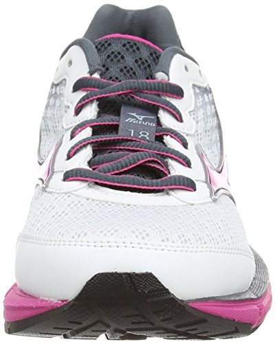 Mizuno Wave Rider 18 - Zapatillas running para mujer Blanco (white/porcelain Blue/fuchsia Purple)