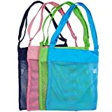 "KiBlue Shell Bags Mesh Beach Bags Breathable Toy Storage Bag,SeaShell Bags with Adjustable Carrying Straps,Blue, Pink, Green, and Black (10.63""x 13.19"",4 Pack)"