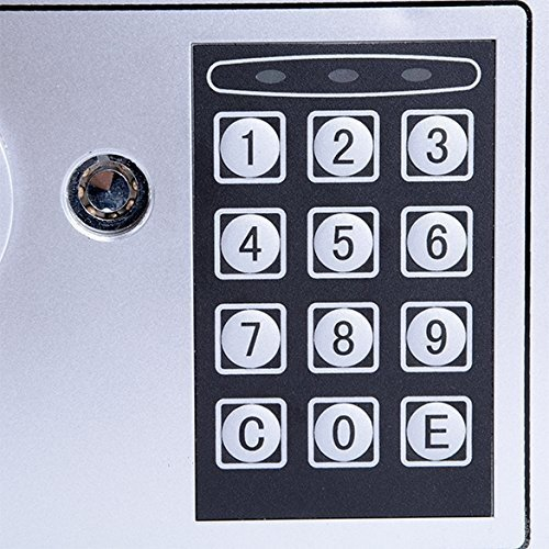 Hosmat Electronic Digital Security Safe Box, Fireproof Wall-Anchoring Safe Deposit Box for Home Office Hotel Business Jewelry Money (Silvery) by balanu (Image #4)