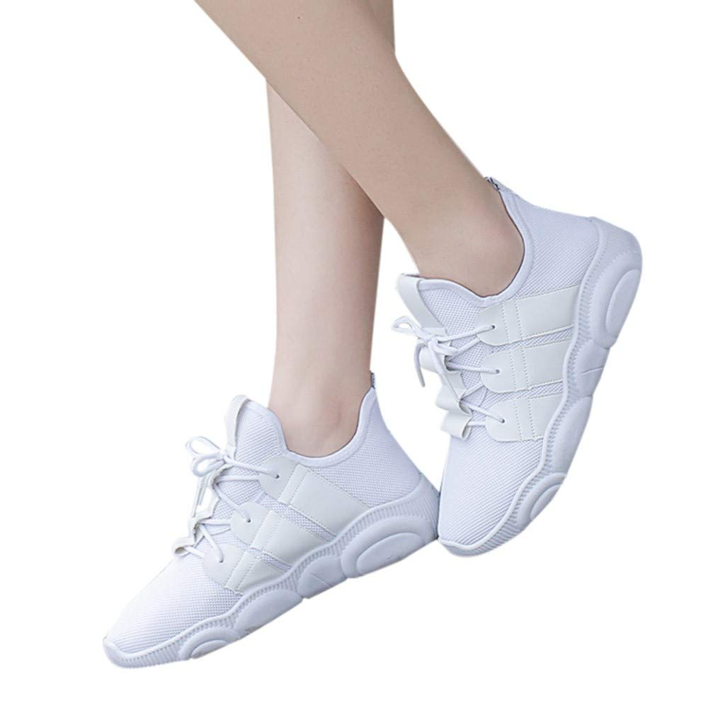 Garish  Women's Mesh Sport Shoes,Solid Flat with Breathable Sneakers Casual Shoes Student Running Shoes White