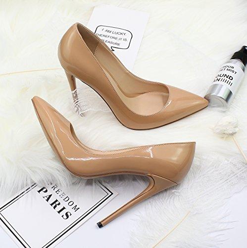 Guoar Dames Stiletto Big Size Schoenen Puntige Teen Dames Solide Pumps Voor Werk Plaats Jurk Partij A-nude Patent