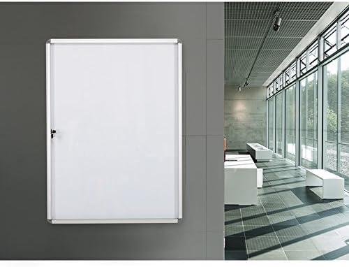 S SWANCROWN Tablón de anuncios adjunto, pizarra magnética de borrado en seco con puerta, vitrina de vidrio para pared, escuela de oficina 9xA4 (98x72cm) Blanco: Amazon.es: Oficina y papelería