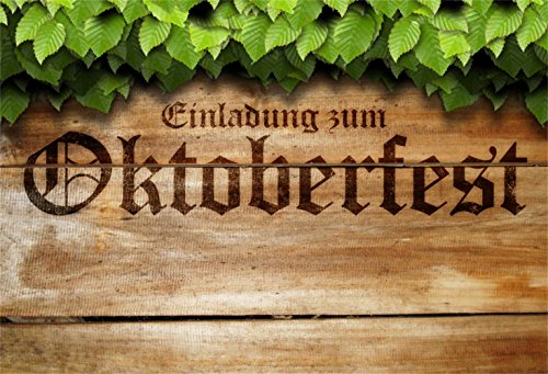 Laeacco Oktoberfest Theme Party Backdrop 10x6.5ft Vinyl Photography Background Retro Wooden Board Green Leaves Nostalgia Germany Beer Feast Event Munich Carnival Festival Celebrating Parade Shoot ()